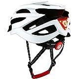 DesignSter Casco Bicicleta-Certificación CE y UKCA Unisex Adulto Unisexo Ajustable con Visera y Forro Desmontable Especializado para Ciclismo de Montaña Motocicleta(Blanco)
