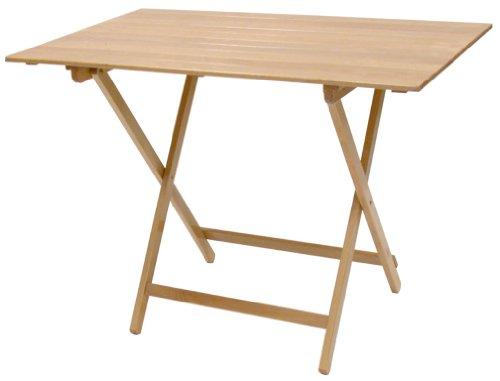 SF SAVINO FILIPPO Tavolo tavolino Pieghevole richiudibile Legno Naturale 100x60 cm in faggio con Listelli per Campeggio casa Giardino PIC nic