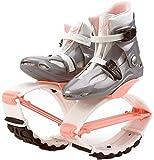 TBBA Zapatos elásticos saltan fácilmente espacio gorila salto zapatos zancos rebote zapatos adultos mujeres hombres anti-gravedad correr botas rebote zapatos salto zapatos rosa blanco L (talla 36/38)