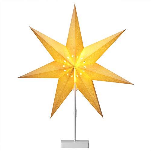 Casaria LED Weihnachtsstern mit Ständer 60 cm batteriebetrieben faltbar 10 LEDs weiß Leuchtstern Dekostern Papierstern