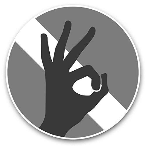 Impresionantes pegatinas de vinilo (juego de 2) 20 cm (bw) – Bandera de buceo de mano, calcomanías divertidas para ordenador portátil, tabletas, equipaje, reserva de chatarras, frigoríficos, regalo genial #40582