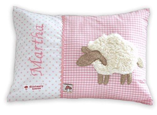 Glückspilz Namenskissen Babykissen I Schaf I mit Namen personalisiert I Geschenk zu Geburt, Taufe, Geburtstag I verschiedene Farben (Rosa, 25 x 35 cm)