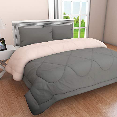 Clasiko Microfibre 300 TC Reversible Comforter (Grey and Peach, King)
