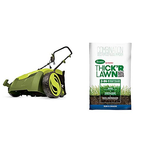 Sun Joe AJ801E 13 in. 12 Amp Electric Scarifier + Lawn Dethatcher w/Collection Bag, Green & Scotts 30158 Turf Builder Thick'R Lawn Sun and Shade, 40 LB