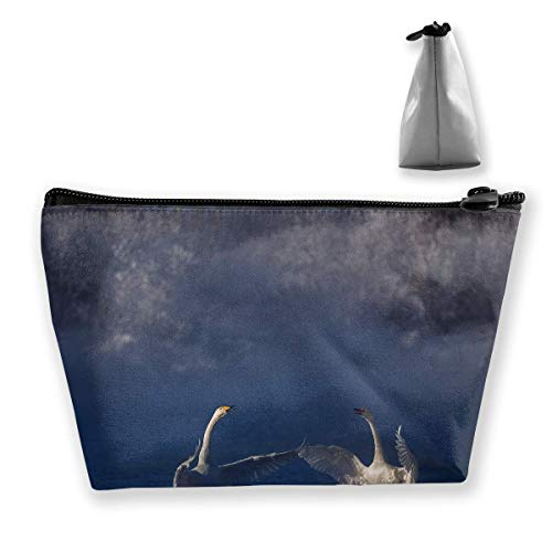 Trapezoidal Cosmetic Bags Makeup Toiletry Pouch Swan Print Travel Storage Bag Phone Purse