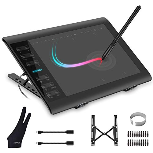 XOPPOX Graphics Drawing Tablet 10 x 6 Inch Large Active Area with 8192 Levels Battery-Free Pen and 12 Hot Keys, Compatible with PC Mac Android OS for Painting, Design & Online Teaching