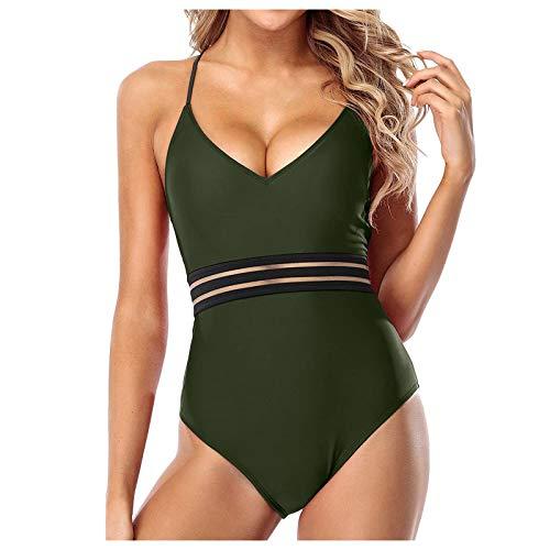 Senyounight - Traje de baño sexy con cuello en V para mujer, color sólido, sin mangas, con tirantes delgados, malla con costuras halter, ropa de playa de una pieza (verde, mediano)