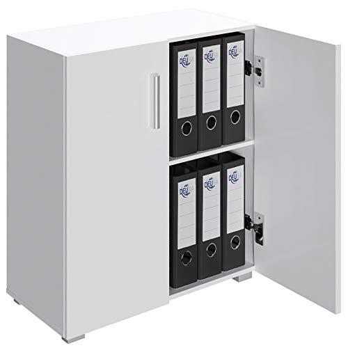 Deuba Mueble Vela Blanco Armario bajo con 2 Puertas para Oficina archivador gabinete Multiuso almacenaje 77x60x31cm