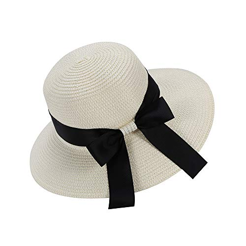Sombrero De Paja, Mujer Sombreros De Playa De Verano De ala Ancha Sombrero para el Sol Sombrero de Paja de ala Ancha Plegable Protección Anti-UV (Blanco)