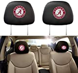 2 Pcs Alabama Crimson Tide Car Headrest Covers,Elastic Washable Fabric Black UA Alabama Head Rest Covers for Cars,Universal Replaceable
