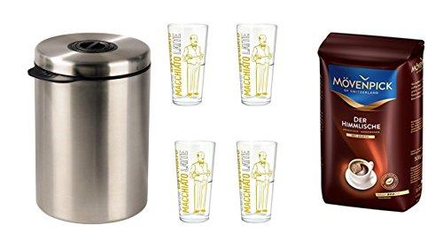 Mövenpick Der Himmlische Bohnen 500g + Xavax Kaffeedose für 1kg Kaffeebohnen, Tee, Kakao, mit Aromaverschluss, Edelstahldose, silber + 4 Latte Gläser