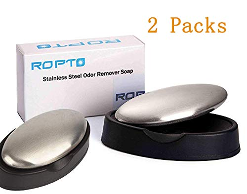 ropto 2 Packs Stainless Steel Soap Hand Odor Remover bar Eliminating Smells Like Onion Garlic Scents from Hands and Skin Kitchen Gadgets