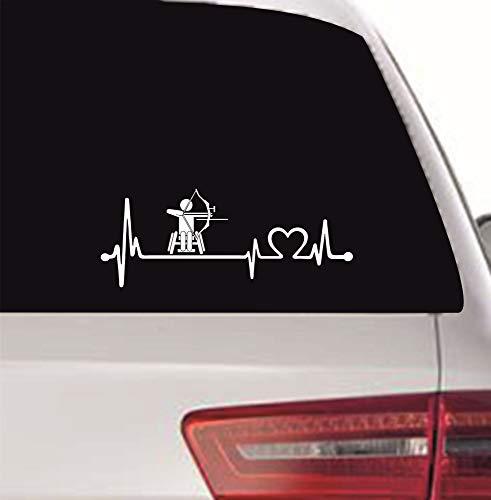 myrockshirt Pegatina con latido de corazón para conductores de sillas de ruedas, Paralímpicos, tiro con arco, 20 cm, latido de corazón