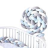 Tour De Lit Bébé Tressé Serpent Coussin Bébé Velours Berceau Pare-chocs Décoration Protection lit Bumper Pépinière Pour les Nouveau-nés lit 2M (Blanc + gris + bleu clair)