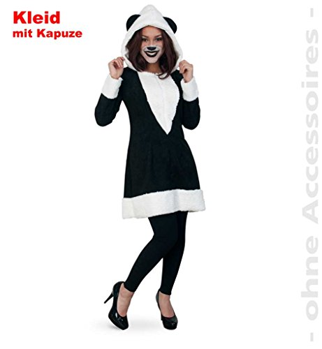 KarnevalsTeufel Kleid Panda, Damen-Kostüm Tier-Outfit Panda Pandabär kuschelig süß (38)