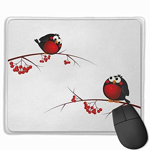 Muis Pad,Bureau muismat, Rowan Kids thema Cartoon Stijl Vogels op takken Grappig Gelukkig Kerstmis Ontwerp Rood Zwart Wit