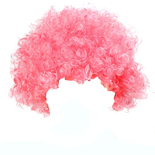 IETANG Halloween Mardi Gras Wig Hair Curl Wigs Synthetic Fiber Hairpiece Party Hair Fan Costume Wig (Dark Pink)