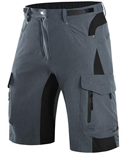 Wespornow Herren MTB Hose, Outdoor Sport Bike Shorts Fahrradhose für Herren (Grey, L(Taille:32''-34''/81-86CM))