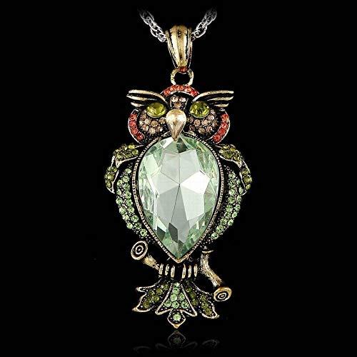 DGSDFGAH Collar De Mujer,Verde Pedrería Antiguo Animal Búho Colgante Exquisito Collar Largo Retro Nostálgico Retro Gótico Gran Piedra Collar De Joyería De Las Mujeres