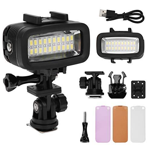 BIKING Luz de fotografía subacuática, 40m Luz de Relleno de fotografía subacuática Cámara de Buceo Impermeable Luz de Video LED 5500K