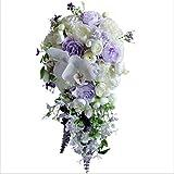 YMXCNM Wasserfall Brautsträuße Lila Künstliche Pfingstrose Hochzeitsblumen Blumensträuße Rose Party Holding Flower Buque