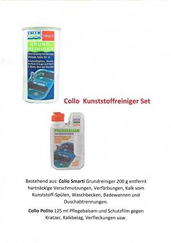 COLLO Kunststoffreiniger Set entfernt hartnäckige Verschmutzungen, Verfärbungen und Kalk von Kunststoffspülen und Arbeitsplatten