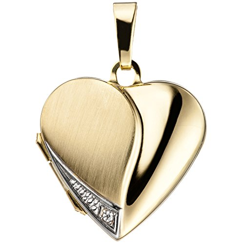 JOBO Damen-Medaillon Herz aus 333 Gold mit Zirkonia zum Öffnen für 2 Fotos