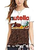 Manica Corta Unisex 3D Pullover Uomo Donna con Stampe Cioccolato Nutella Maglietta con Lettere Maglietta della Stampa Allentata Solido di Colore Girocollo a Maniche Corte