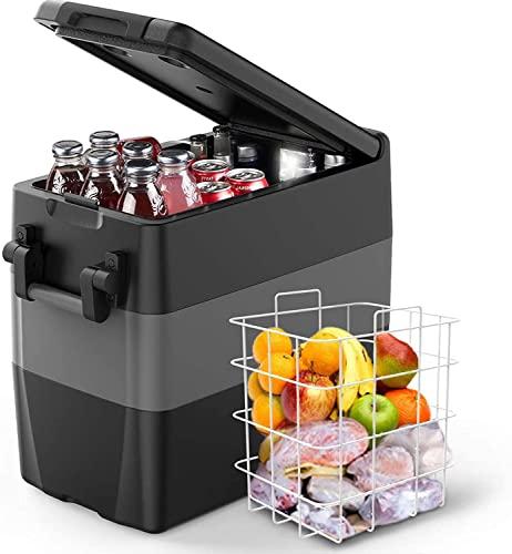 ISSYZONE elektrische Kompressor-Kühlbox 50 Liter tragbarer Auto Kühlschrank, 10 bis -18 ° C, Gefrierbox mit Batterieschutz, 12 V und 230 V für Auto, LKW, Boot, Wohnmobil, Camping und Hotelzimmer