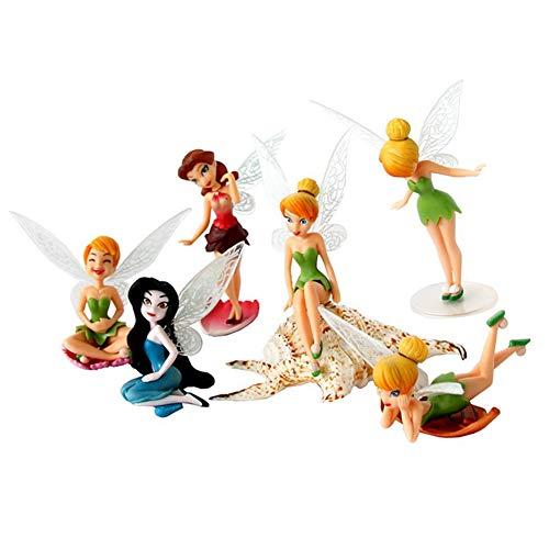 6pcs Tinker Bell Flower Fairy Miniature Garden Ornament Figurine Cake Topper Dollhouse Decoration