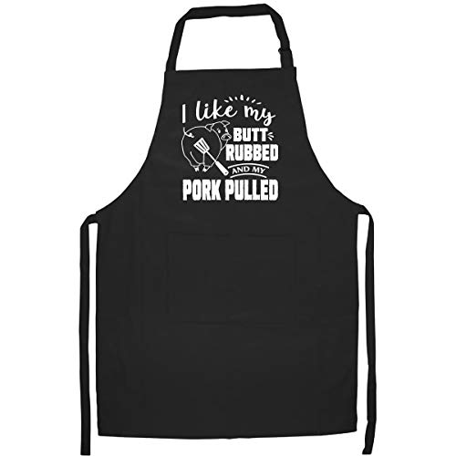 Alozo Global I Like My Butt Rubbed and My Pork Pulled Funny Kitchen Apron with Two Large Pockets - Best Gift for Dad, Mom, Husband, Wife, Friend, Grandpa, Grandma