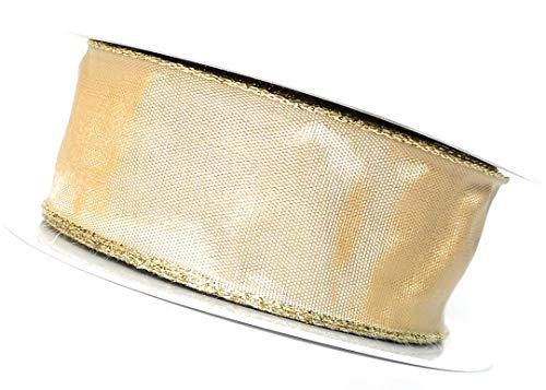 Weihnachtsband SCHLEIFENBAND 25m x 40mm Honig - Gold Dekoband GESCHENKBAND