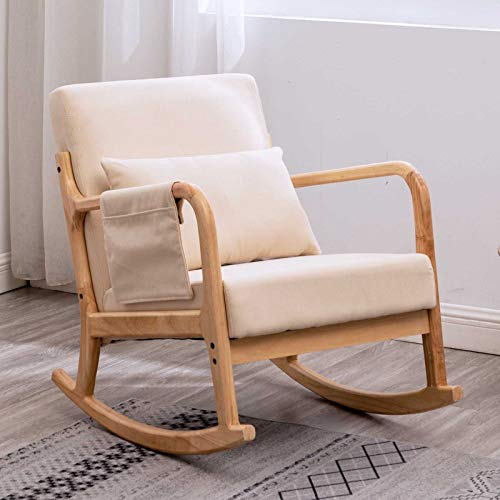 Apelila Rocking Chair, Mid Century High Back Armchair Modern Glider Rocker Upholstered Fabric Padded Seat Side Pocket Pillow for Nursery (Beige)