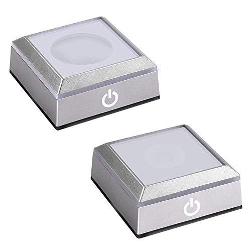 SYWAN Quadratischer LED Licht sockel mit Empfindlichem Berührung Schalter für Crystal 3D Laser Glass Art (Zwei)