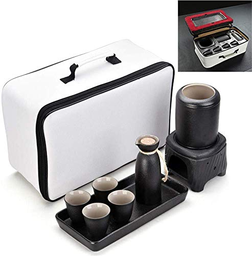 ZXL Set Keramische Sake Japanse Stijl 9 stuks, inclusief Cui 1 Kaars Stuk, 1 Verwarming Beker, 1 Beker van Sake, 4 kopjes Sake