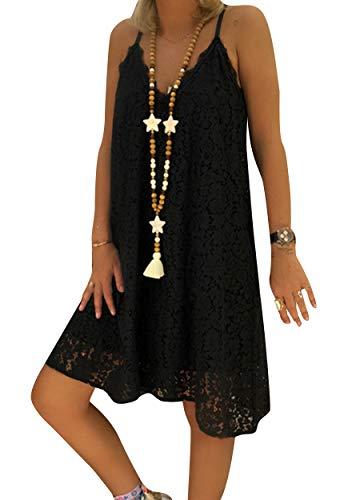 ZICUE Lady Flowy Boho Dresses Summer Short Dress Casual Loose Party Dress Club Dress Black S