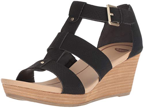 Dr. Scholl's Shoes womens Barton Wedge Sandal, Black Snake Print, 8 US