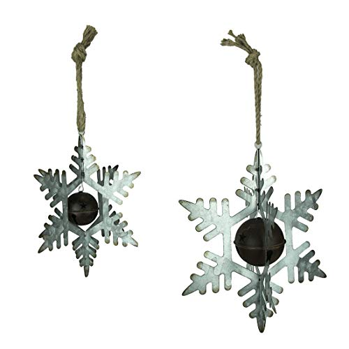 Rustic Metal 3D Hanging Snowflake and Bell Ornament Set of 2 - Favorite Decor Store
