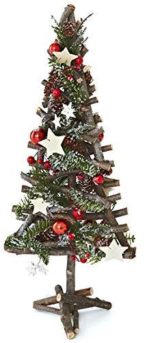 HEITMANN DECO 92507Albero di Legno, Decorata, Legno, Natura/Verde/Rosso, 7x 24x 55cm