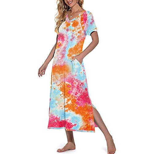 YANFANG Vestidos De Playa CamisóN Largo para Mujer Camisa Dormir Manga Corta con Cuello En V Ropa Estar Suave Bolsillo,Vestido Verano,Vestidos Largos,Rojo,L