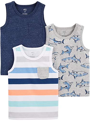 Simple Joys by Carter's Boys' Toddler 3-Pack Tank Tops, shark/stripes, 4T
