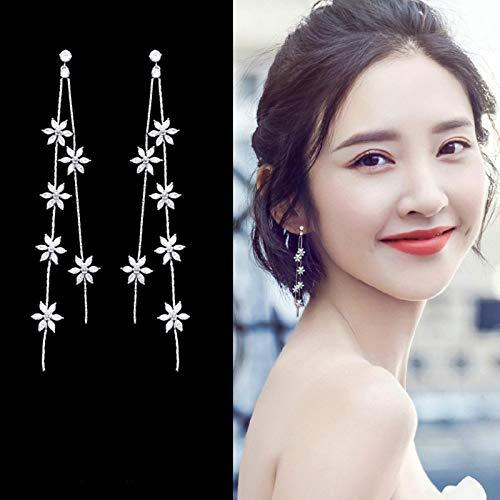 LIUL Pendientes Colgantes de aleación de Moda para Mujer, Pendientes Largos Coreanos, Pendientes de Borla de Flores de circonita Simple, joyería