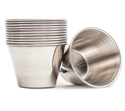 ehomeA2Z Ramekin Stainless Steel Condiment Sauce Cups Au Jus Commercial Grade 48 Pack (48, 2.5 oz)