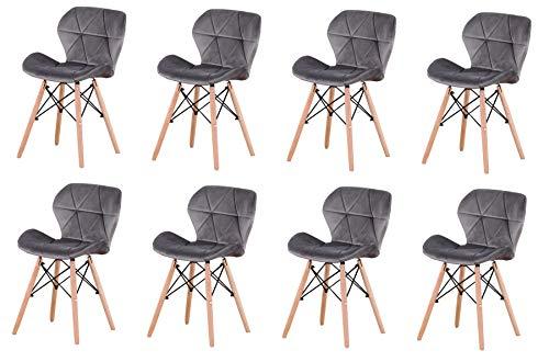 ZMALL Juego de 8 sillas de comedor tapizadas de terciopelo con patas de madera, cojín suave para el