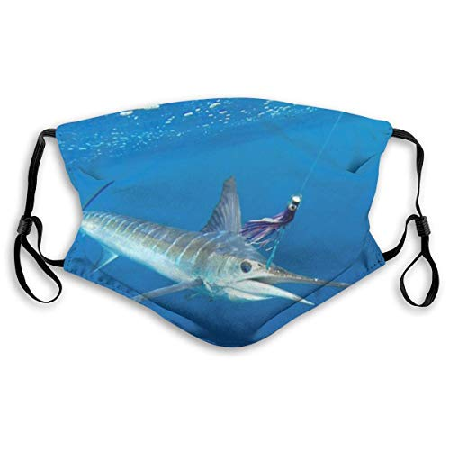 Face Mask Sea Striped Marlin Fish Balaclava Bandanas with Filter for Women Men Personalized(10 filters)