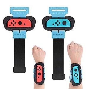 Muñequeras para Just Dance 2020/2019 Compatible con Nintendo Switch, 2 Piezas Correa de Muñeca Elástica Ajustable para Joy con Controller, Dos Tamaños para Adultos y Niños