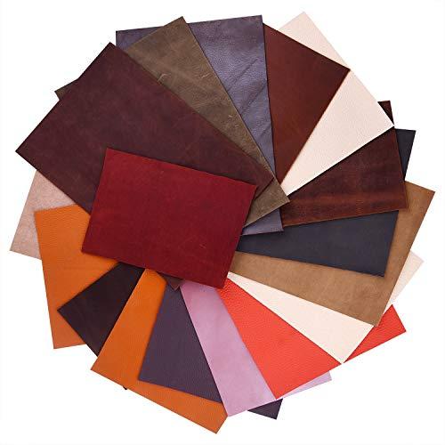 FEPITO 1 kg de chatarra de cuero de varios tamaños de colores Chatarra de cuero de calidad mixta para manualidades