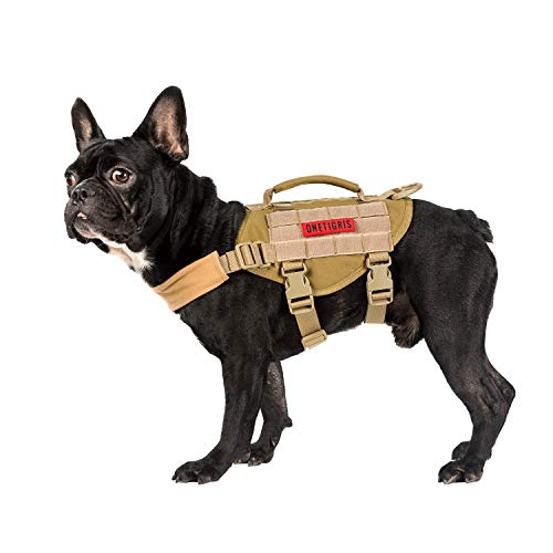 OneTigris MOLLE Taktisches Welpengeschirr Einstellbar Weich Geschirr für Kleine Hunde Welpen Wandern/Walking Outdoor-Aktivitäten (Coyote Braun) |MEHRWEG Verpackung (XS, Coyote Braun)