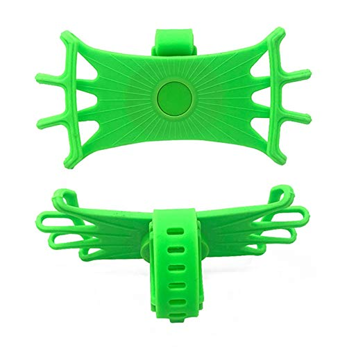 DGDH Montaje del teléfono de la Bicicleta, Soporte de teléfono móvil Soporte de Ciclismo Bicicleta Smartphone Soporte Silicone MTB Bike Handlebar Holder Fácil de Instalar y Duradero. (Color : Green)
