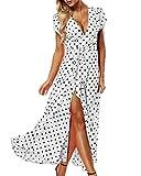 ACHIOOWA Mujer Vestido Elegante Casual Playa Bohemio Dress Lunares Cuello V Manga Corta Escote Fiesta Cóctel Falda Larga Blanco M